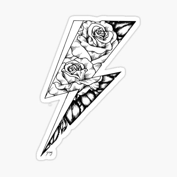 Floral Lightning Bolt (Ziggy Stardust Tribute) Pegatina