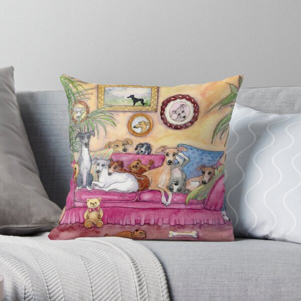 This is our sofa. So - where's yours? Greyhounds and whippets on the couch. Throw Pillow