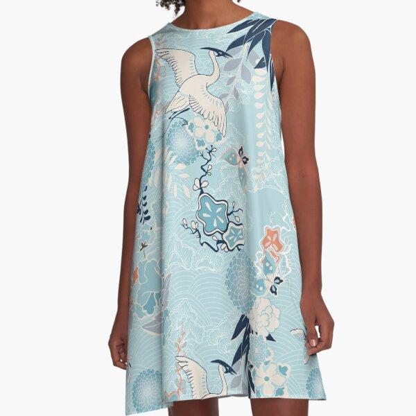 kimono background with crane flowers A-Line Dress
