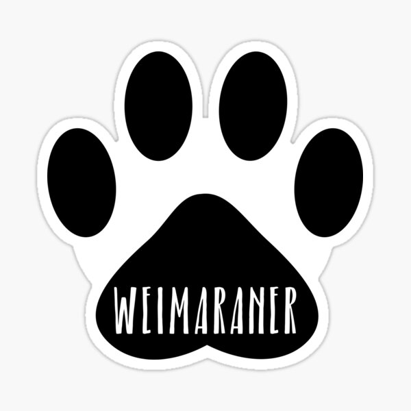 Weimaraner Paw Print Seal Sticker