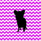 Perfectly Pink Chevron With Yorkie Silhouette by pjwuebker