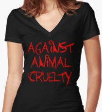 Against Animal Cruelty Women's Fitted V-Neck T-Shirt