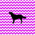 Perfectly Pink Chevron With Golden Retriever by pjwuebker