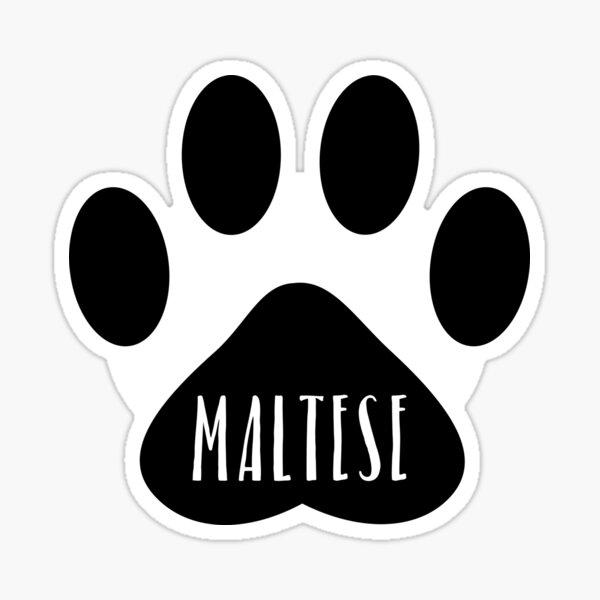 Maltese Paw Print Seal Sticker