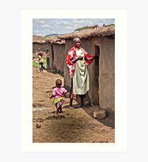 Masai Tribe - Mom and Child Art Print