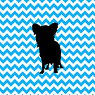 Baby Blue Chevron With Yorkie Silhouette by pjwuebker