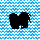 Baby Blue Chevron With Shih Tzu Silhouette by pjwuebker