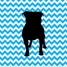Baby Blue Chevron With Pug Silhouette by pjwuebker