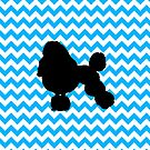 Baby Blue Chevron With Poodle Silhouette by pjwuebker