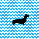 Baby Blue Chevron With Dachshund by pjwuebker