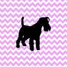 Pink Chevron With Schnauzer Silhouette by pjwuebker