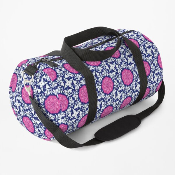 Boho Pattern, Pink and Blue Ethnic design Duffle Bag