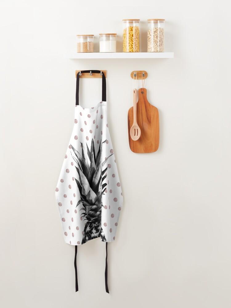 Alternate view of Pineapple Happy Polka Dots Dream #1 #tropical #fruit #decor #art Apron