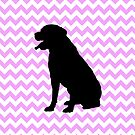 Pink Chevron With Lab Silhouette by pjwuebker