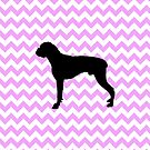 Pink Chevron With Boxer Silhouette by pjwuebker
