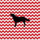 Fire Truck Red Chevron With Golden Retriever by pjwuebker