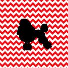 Fire Truck Red Chevron With Poodle by pjwuebker