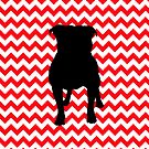 Fire Truck Red Chevron With Pug Silhouette by pjwuebker