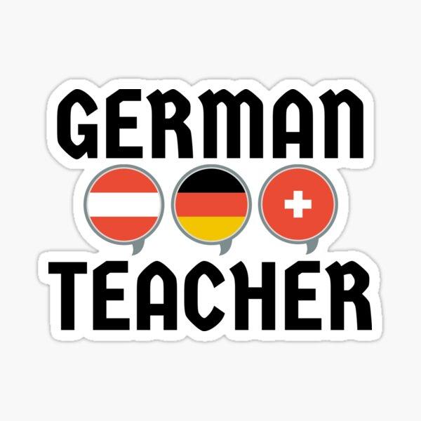 German Teacher with Flags Sticker