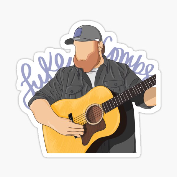 luke combs drawing and hand lettering Sticker