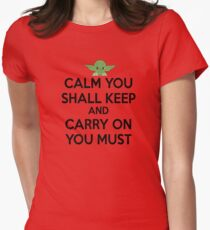 YODA - STAR WARS - KEEP CALM Womens Fitted T-Shirt