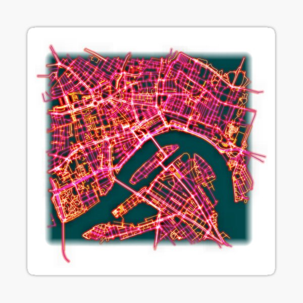 Neon Roads of Rotterdam (without text) Sticker