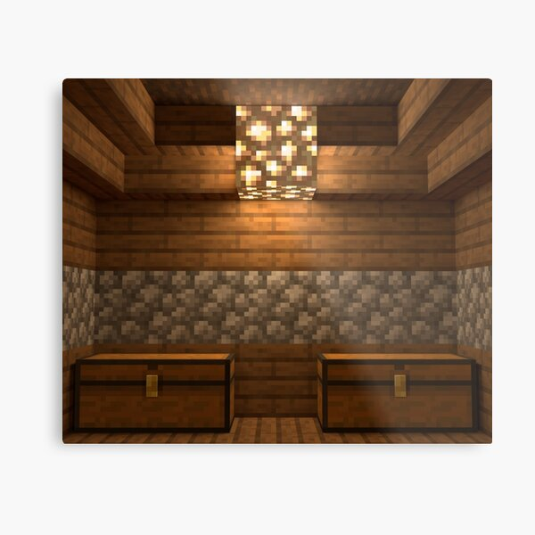 Minecraft Glowstone With Chests Metal Print