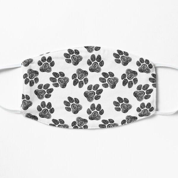 Paw Print Pattern Black and White Design Flat Mask