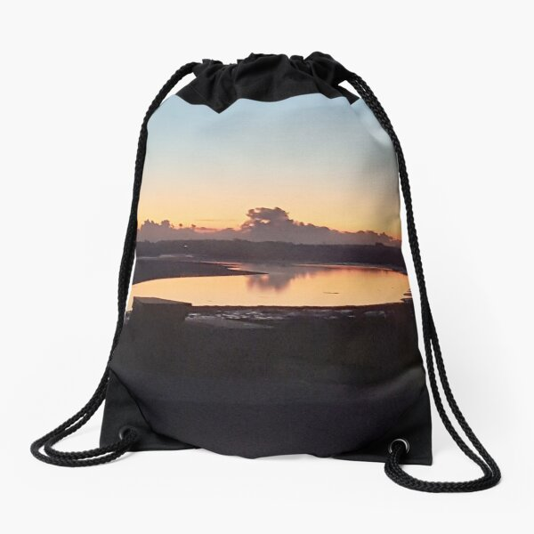 Dusk with a Beautiful Red Sunset Drawstring Bag
