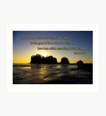 sunset silhouettes with golden romans 8:28 Art Print