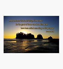 sunset silhouettes with golden romans 8:28 Photographic Print