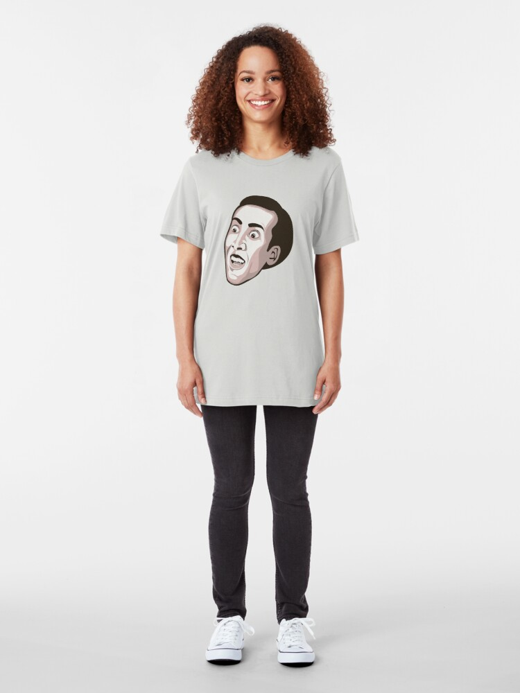 Alternate view of Nicolas Cage - Faces Of Awesome Slim Fit T-Shirt
