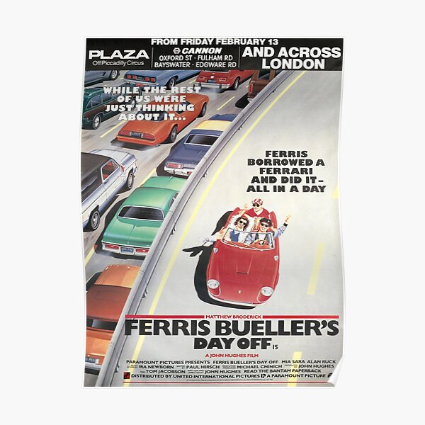 Ferris Buellers Day Off 1986 London Advance Bus Stop Movie Poster Print. Poster