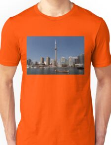 The Old and the New - Traditional Big Voyageur Canoe in Torontos Harbour Unisex T-Shirt
