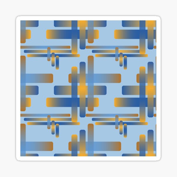 Woven Rounded Overlapping Rectangles Oranges Techno Blue Sky Sticker