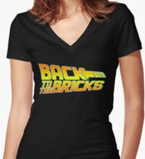 'Back to the Bricks' Women's Fitted V-Neck T-Shirt