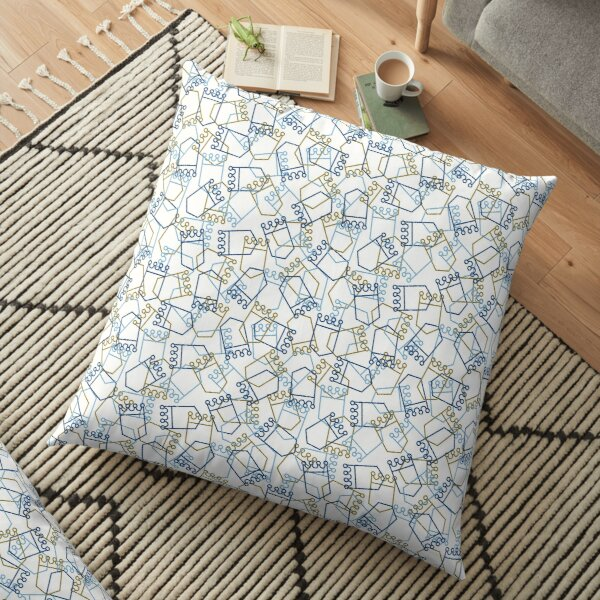 Royals Shield Pattern, White Background Floor Pillow