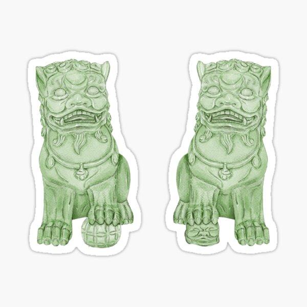 watercolor green Foo Dog chinoiserie Sticker