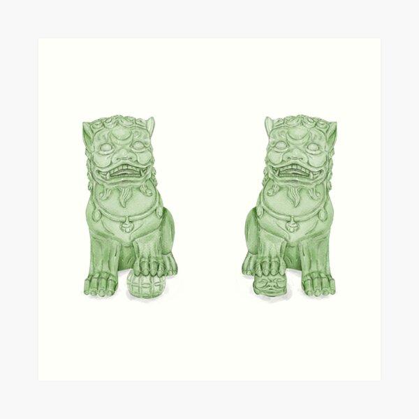 watercolor green Foo Dog chinoiserie Art Print