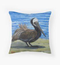 Brown Pelican on Datona Beach FLorida Throw Pillow