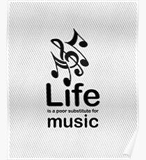 Music v Life - Carbon Fibre Finish Poster