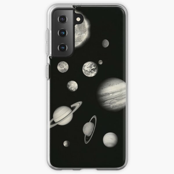Black and White Solar System Samsung Galaxy Soft Case