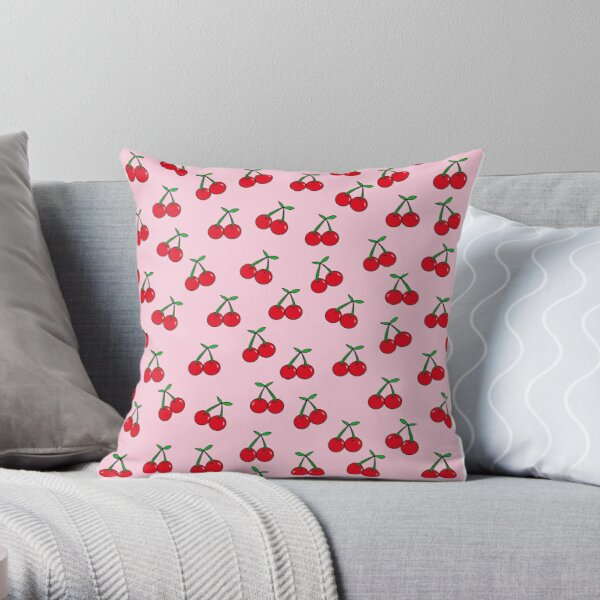 Cherries 3 (on pink) Throw Pillow