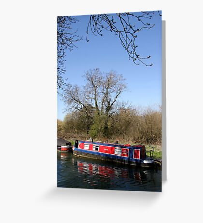 Narrow Boat In Spring Greeting Card