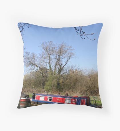 Narrow Boat In Spring Throw Pillow