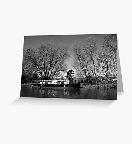 Old Narrow Boat in Black and White Greeting Card