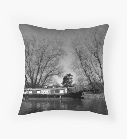 Old Narrow Boat in Black and White Throw Pillow
