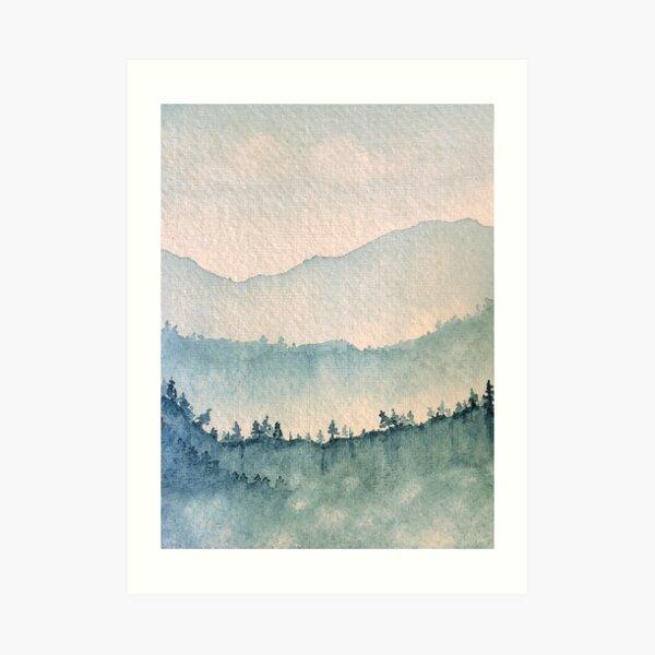 Misty Mountain Blues Watercolor Art Print