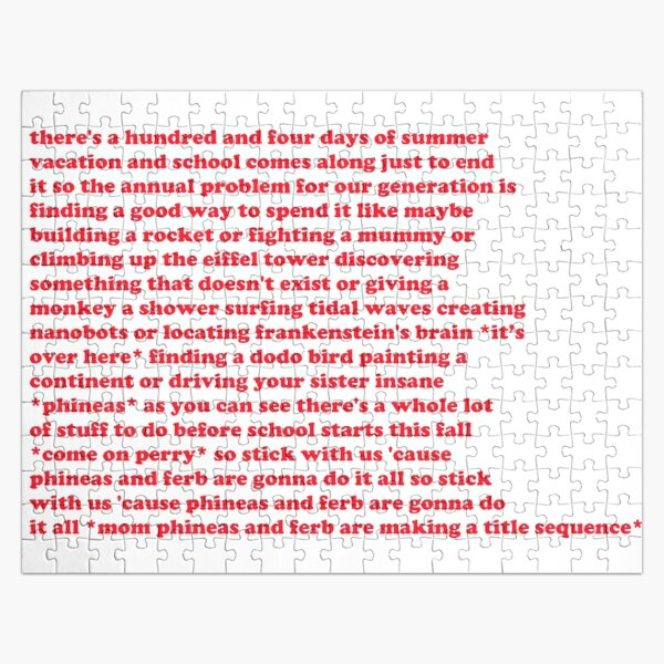 Phineas And Ferb Lyrics Jigsaw Puzzle By Melkin05 Redbubble