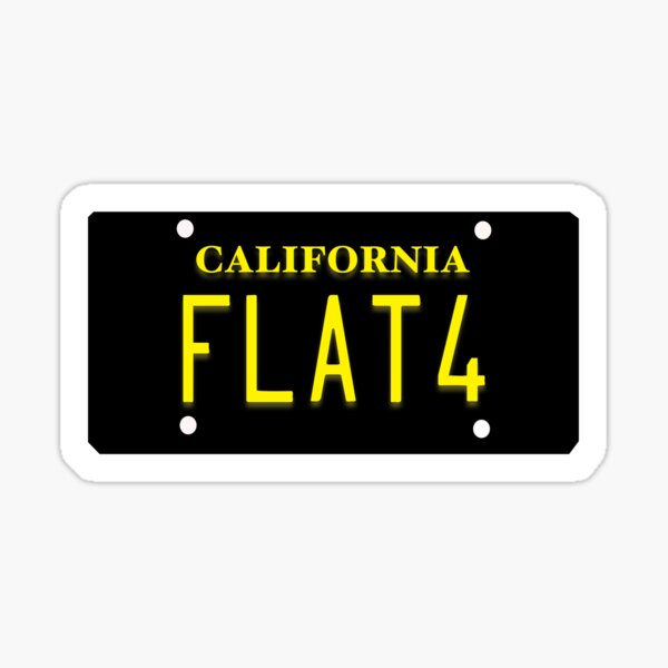 Flat4 on classic California plate Sticker